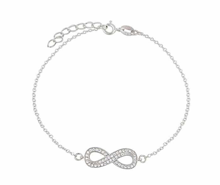 Sterling Silver CZ Infinity Bracelet