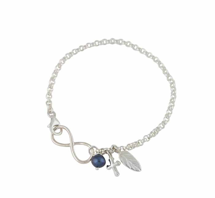 Silver Infinity Bracelet with Leaf and Cross Charm