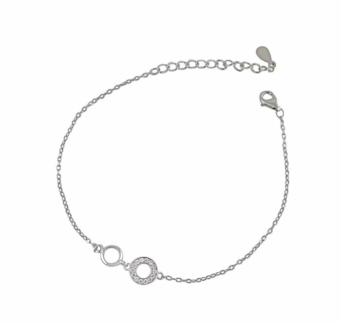 Plain and Cubic Zirconia Circle Bracelet