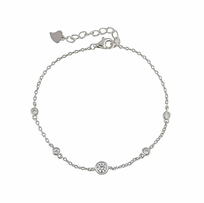 Round Cubic Zirconia Silver Bracelet