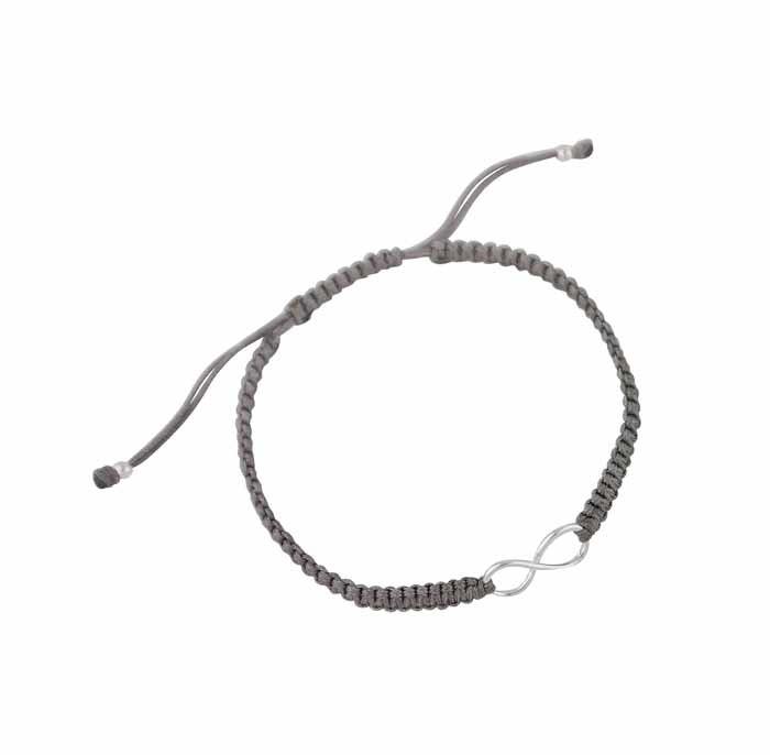 Silver Infinity Charm Adjustable Bracelet - Grey