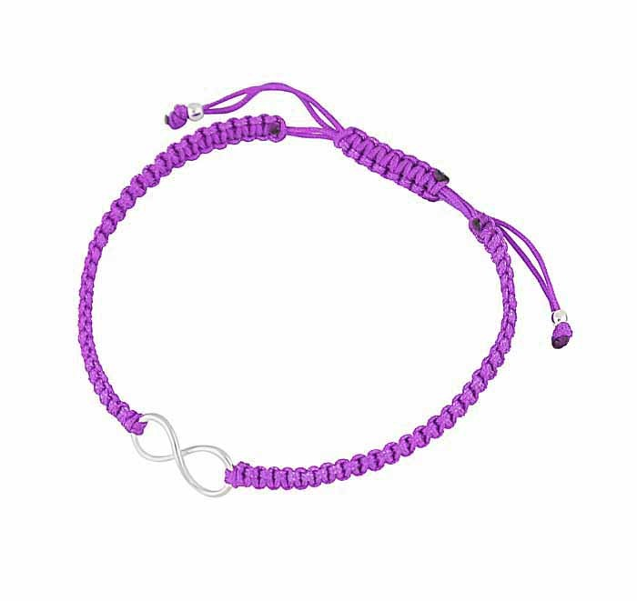 Silver Infinity Charm Adjustable Bracelet - Purple