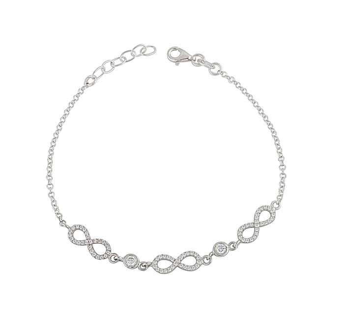 Triple Infinity Charm Cubic Zirconia Silver Bracelet