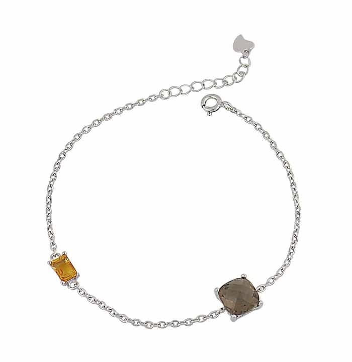 Citrine and Smoky Quartz Stone Silver Bracelet