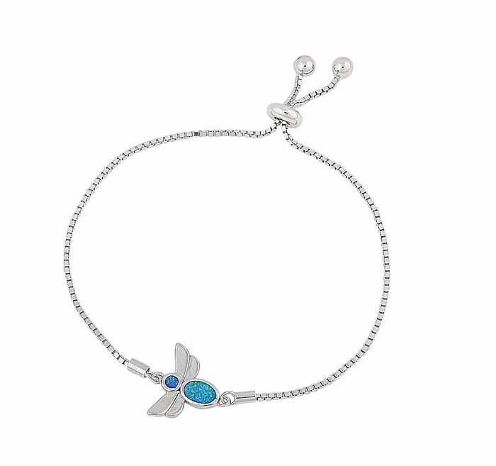 Blue Opal Bee Silver Bracelet