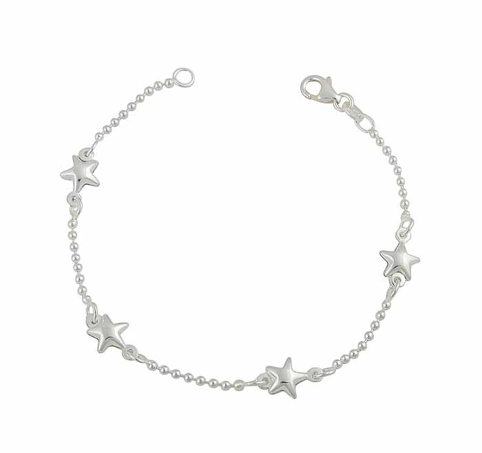Silver Ball Chain and Star Charm Bracelet