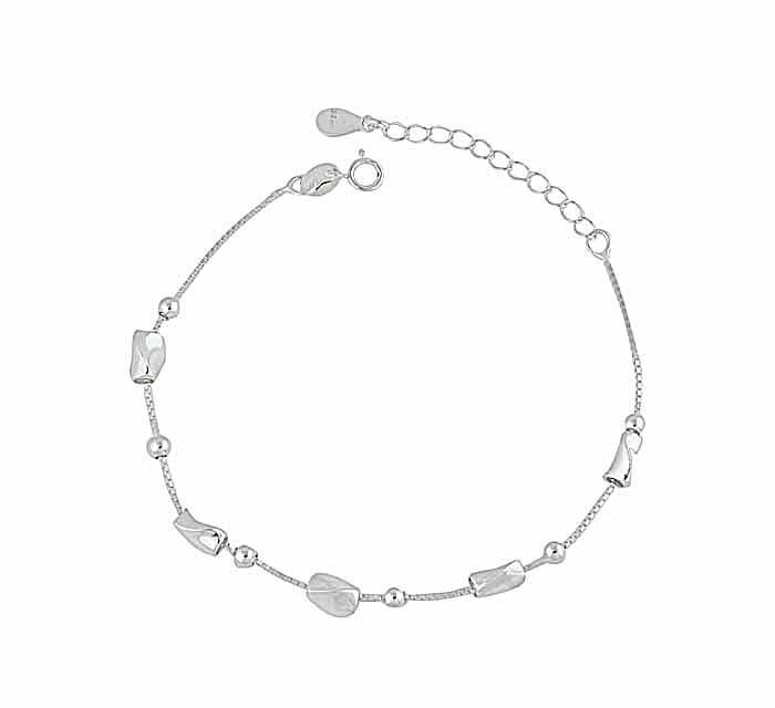 Irregular Geometry Silver Bead Bracelet
