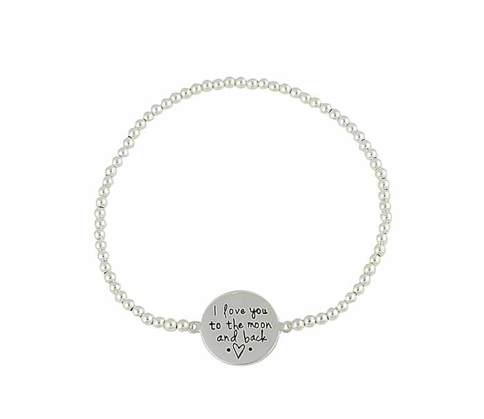 I love you to the moon and back' Disc Silver Stretch Bracelet