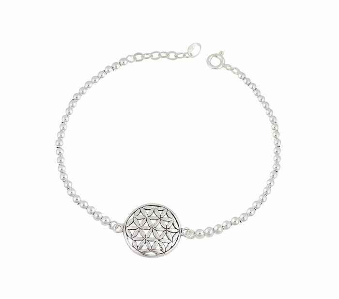 Flower of Life Silver Ball Bracelet