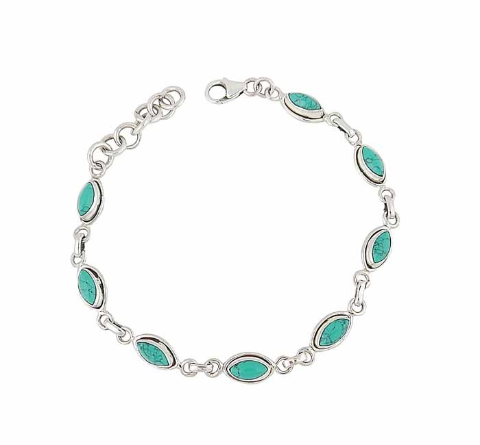 Marquis Turquoise Silver Bracelet