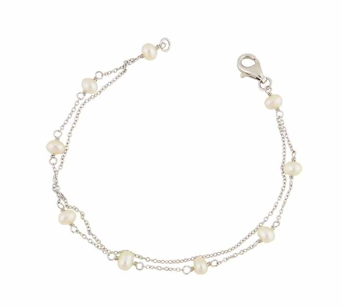Two Row Freshwater Pearl Silver Bracelet