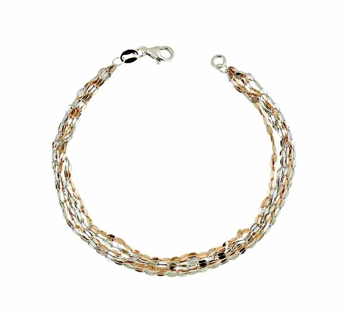 Two Colour Regatta Chain Silver Bracelet