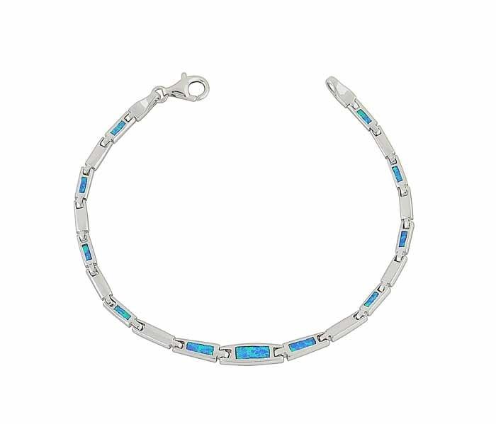Blue Opal Linkage Silver Bracelet