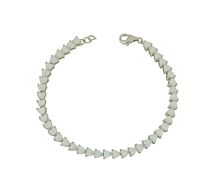 White Opal Heart Link Bracelet