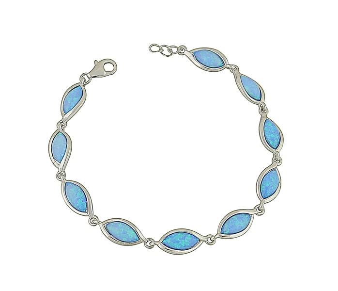 Almond Link Blue Opal Bracelet
