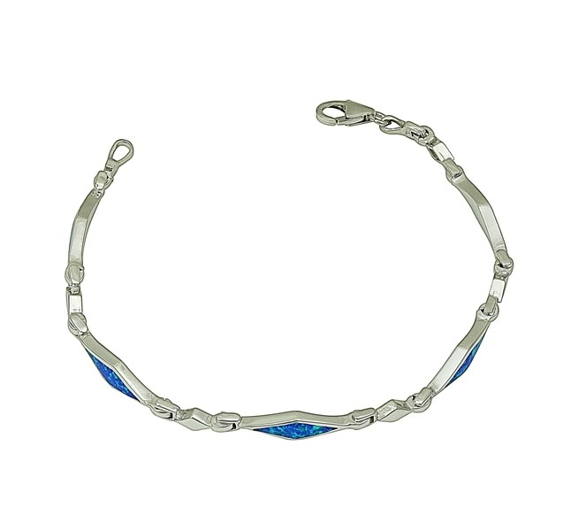 Blue Opal Diamond Link Bracelet