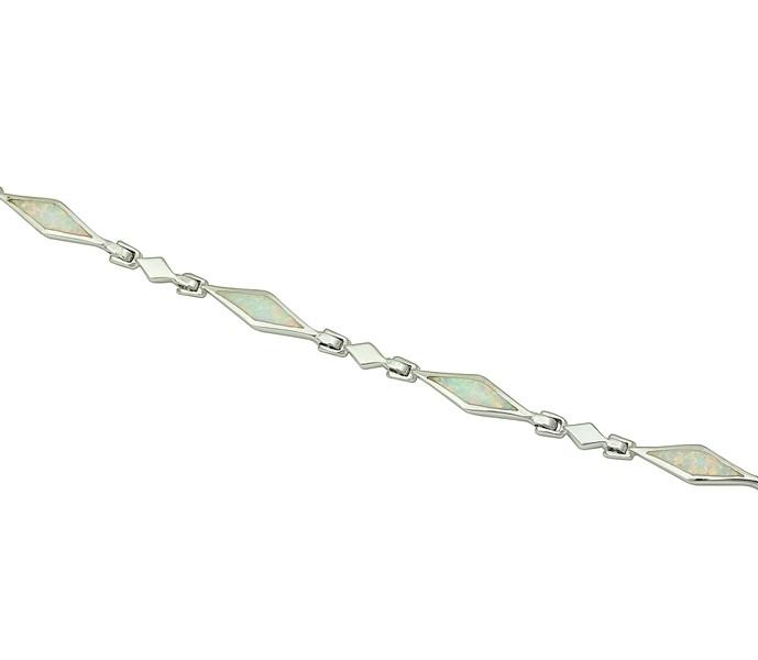 White Opal Diamond Link Bracelet