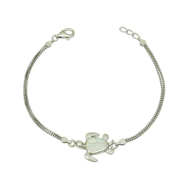 White Opal Turtle Bracelet
