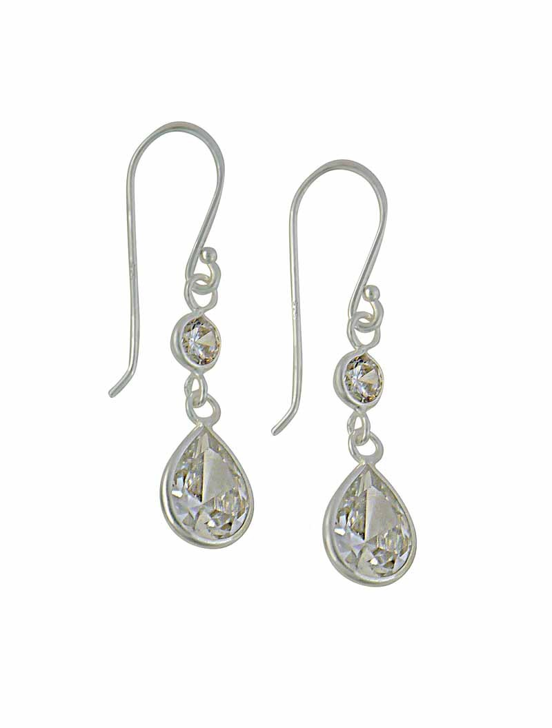 Clear Teardrop Cubic Zirconia Silver Drop Earrings