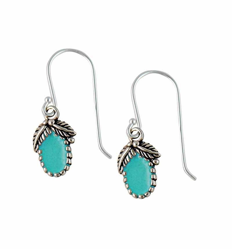 Opal Leaf Sterling Silver Turquoise Earrings