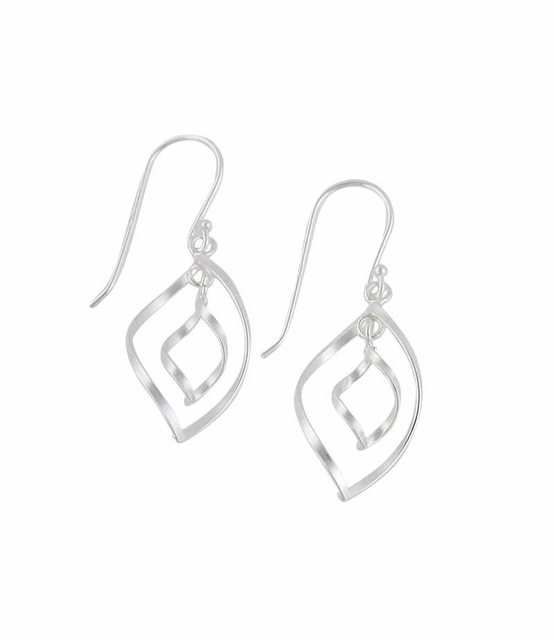 Twisted Teardrop Silver Drop Earrings