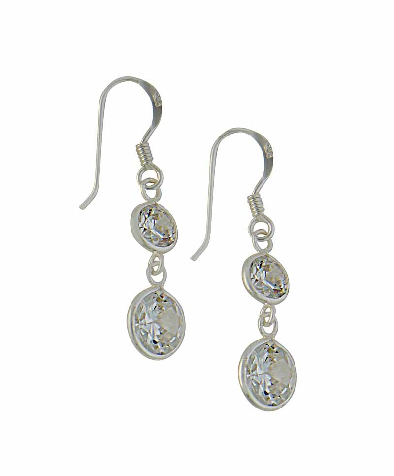 Round Cubic Zirconia Sterling Silver Drop Earrings