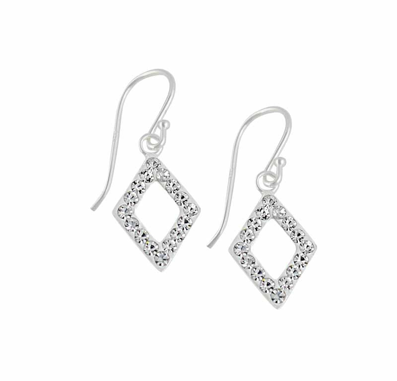 Open Diamond Shape Drop Earrings