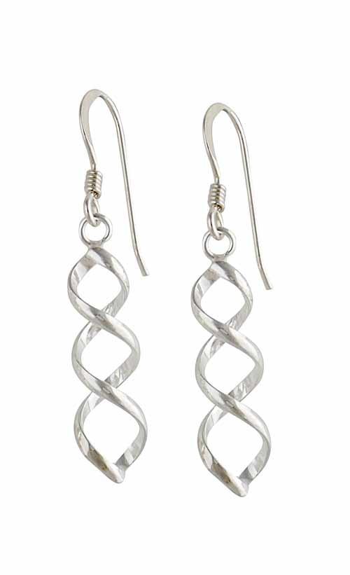 Simple Twist Silver Drop Earrings