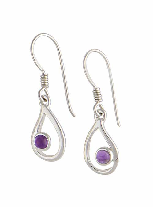 Open Teardrop Silver Amethyst Earrings