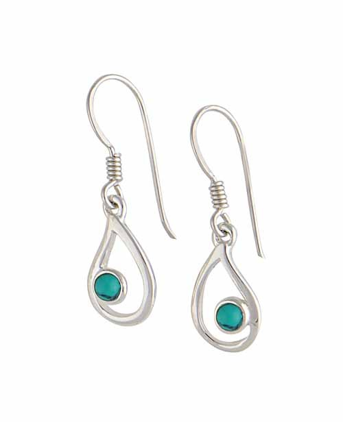 Turquoise and Open Teardrop Silver Earrings