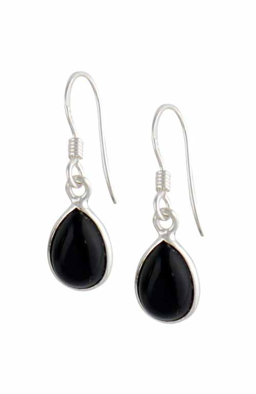 Silver Teardrop Black Onyx Earrings