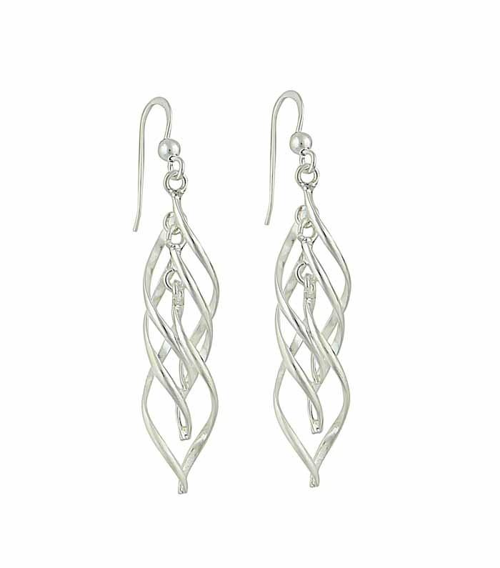 Interlink Oval Silver Drop Earrings