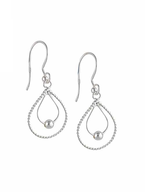 Rope Edge Twin Silver Teardrop Earrings