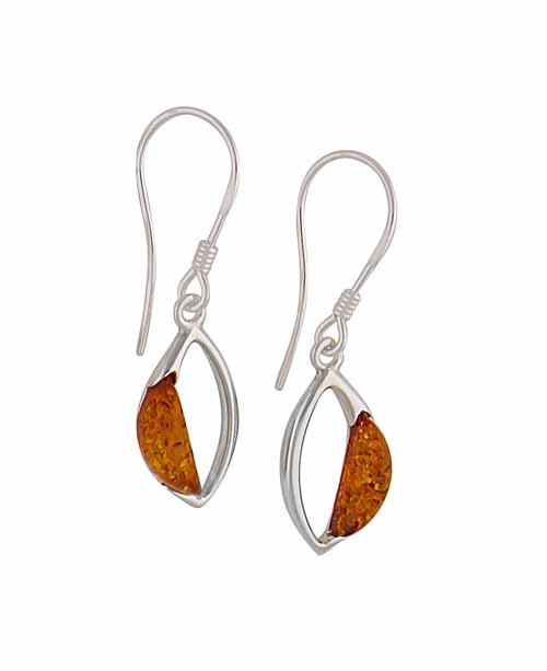 Marquise Silver Amber Earrings