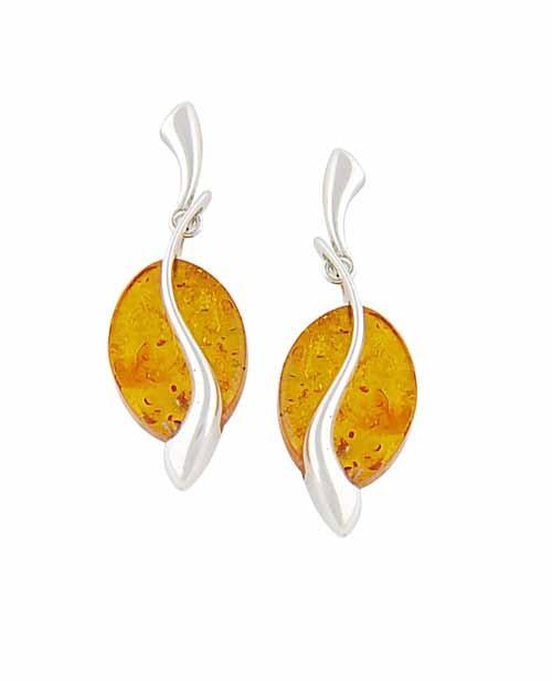 Serenity Disc Drop Amber Earrings