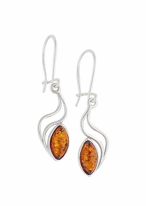Wave Drop Amber Earrings - Silver Amber Jewellery