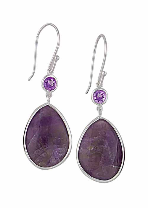 Silver Drop Amethyst Earrings | Amethyst Jewellery