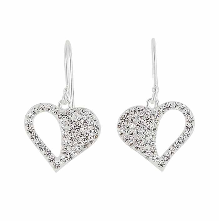 Heart Drop Earrings Encrusted with Clear Crystal