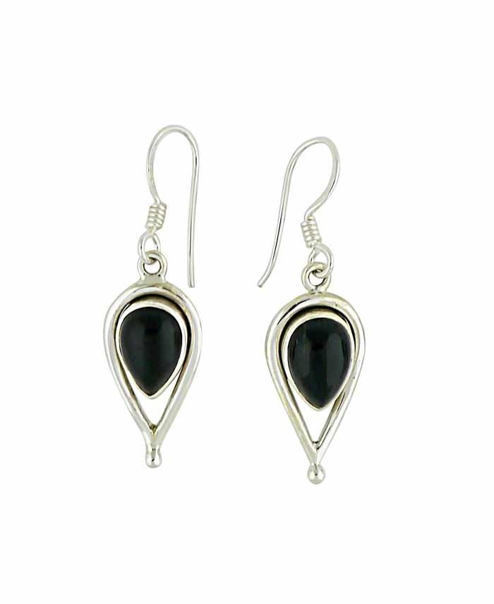 Black Onyx and Open Water Drop Silver Earrings