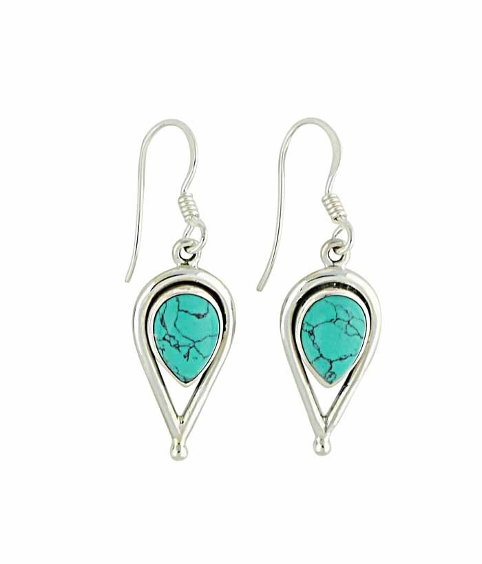 Turquoise and Open Water Drop Silver Earrings