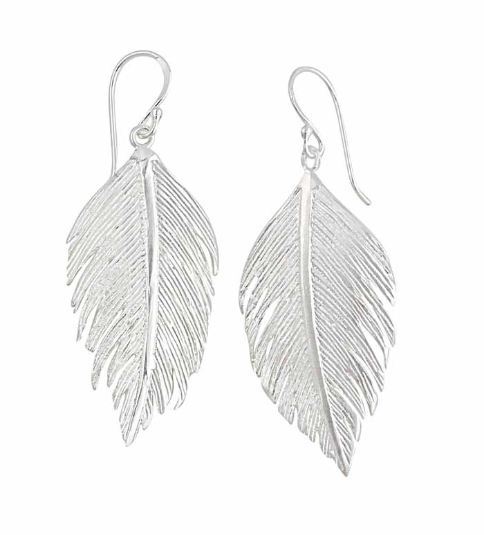 Large Feather Drop Earrings