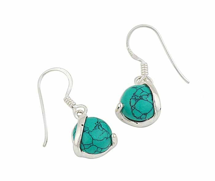Turquoise Ball Small Drop Earrings