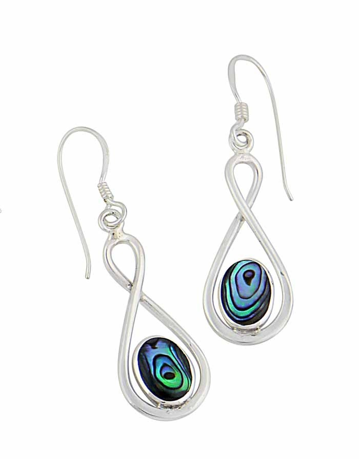 Abalone Infinity Drop Earrings