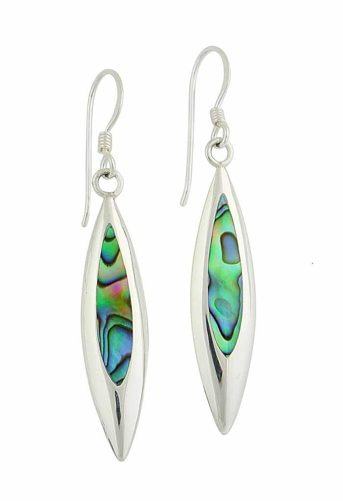 Abalone Leaf Charm Drop Earrings
