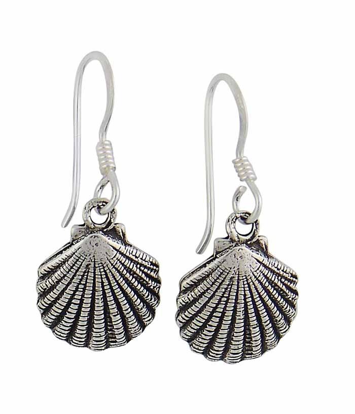 Oxidized Shell Silver Drop Earrings