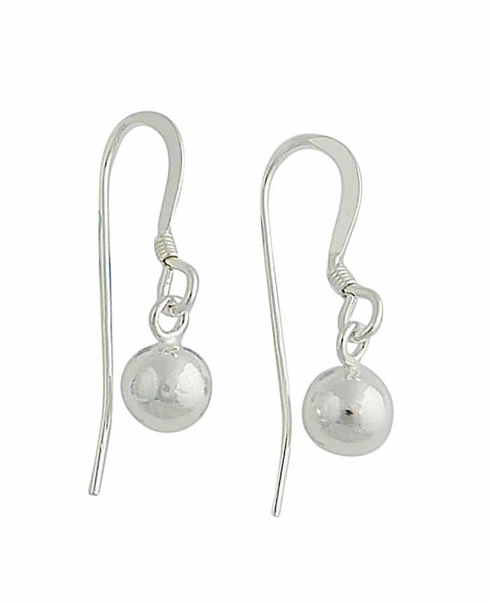 Small Silver Ball Drop Earrings