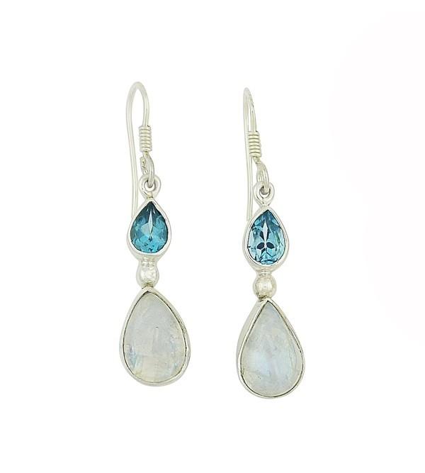 Blue Topaz and Moonstone Teardrop Earrings