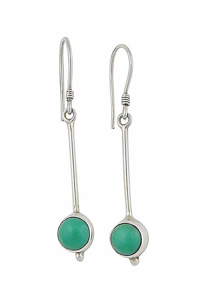 Silver Turquoise Long Drop Earrings