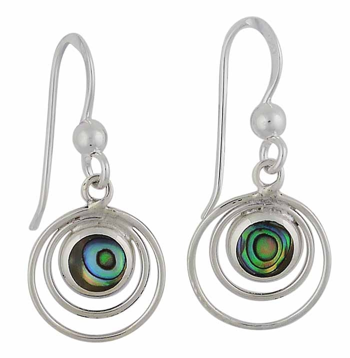 Circular Abalone Silver Drop Earrings