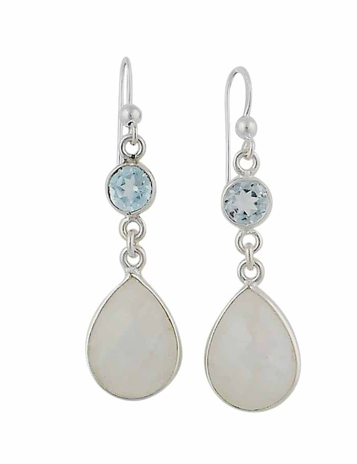 Sky Blue Topaz and Moonstone Teardrop Silver Earrings